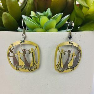 Two Tone Dangle Earrings Dancing Dancer Figurines